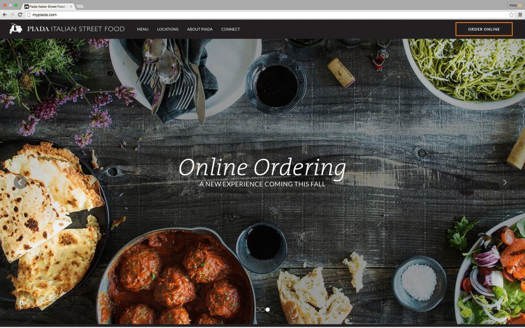 Piada's new website homepage