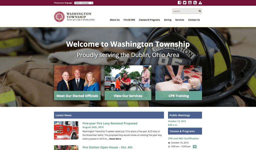 Washington Township in Dublin, Ohio announces launch of their new website