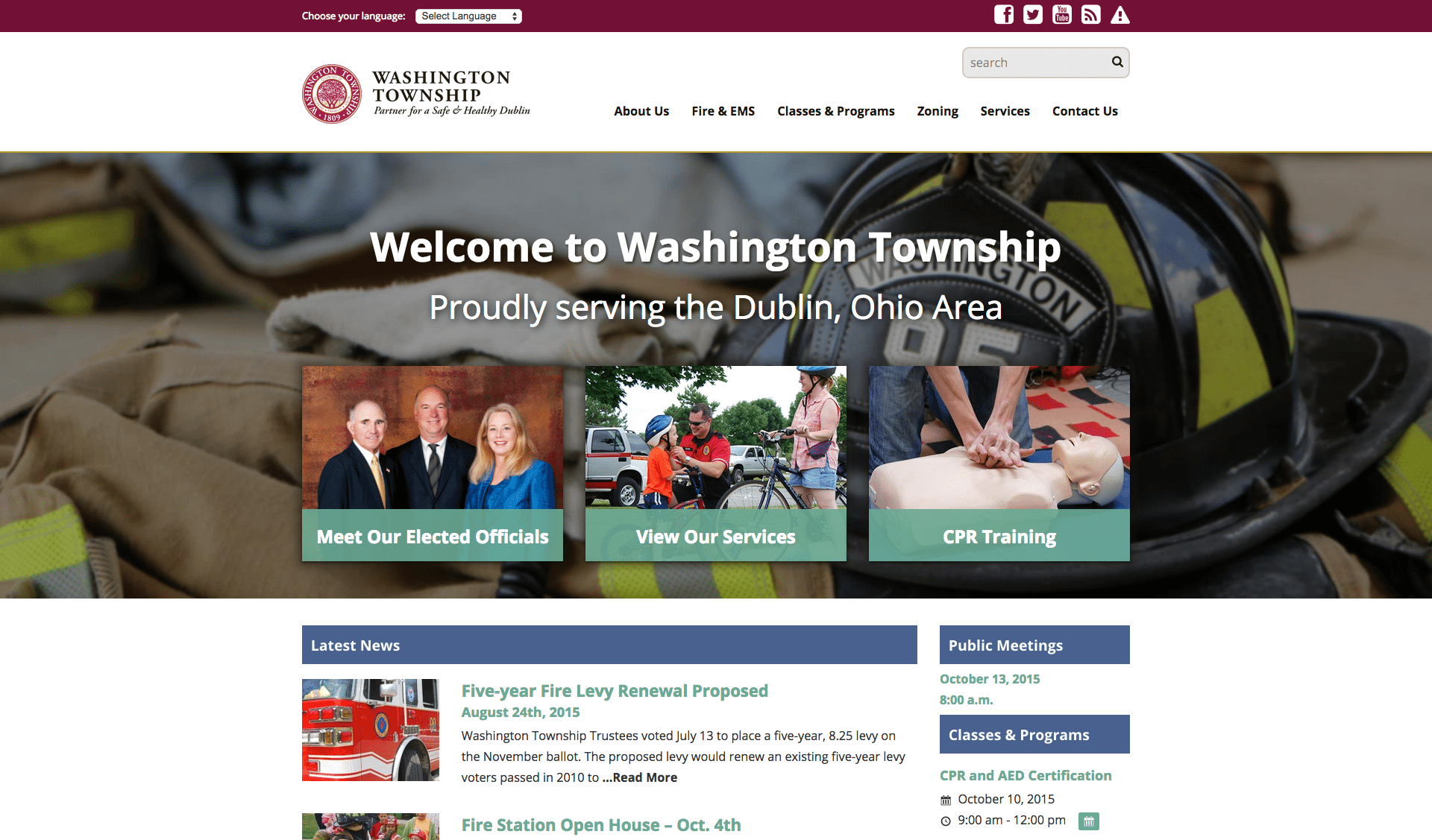 Washington Township in Dublin, Ohio announces launch of their new website