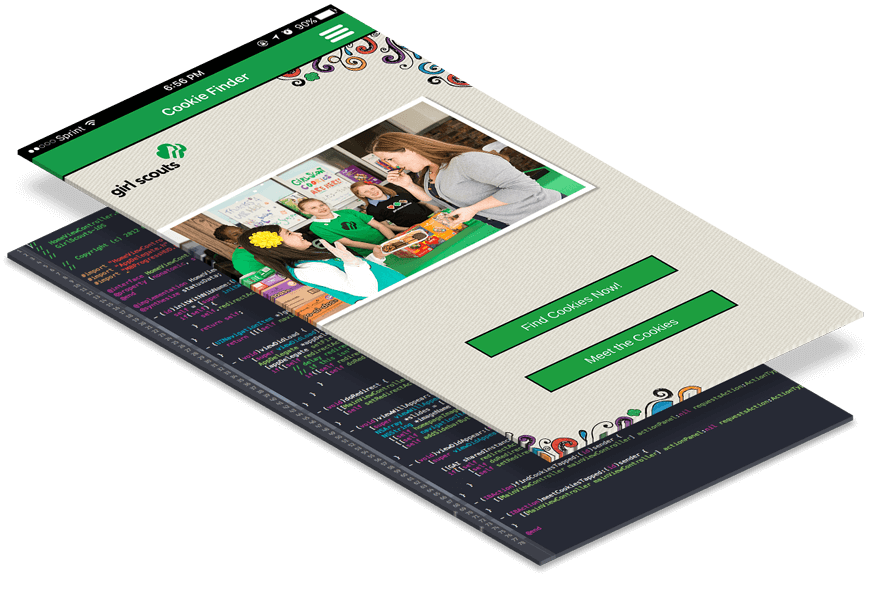 Layered image showing the Girl Scouts Cookie Finder App in development