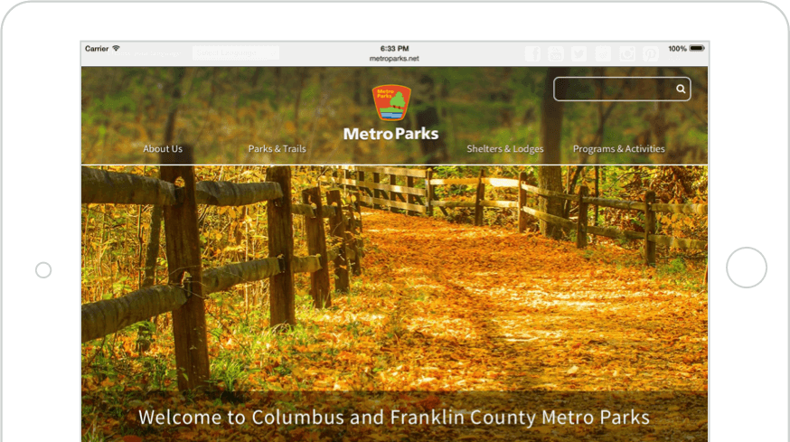 Web Development and Design: Metroparks Website