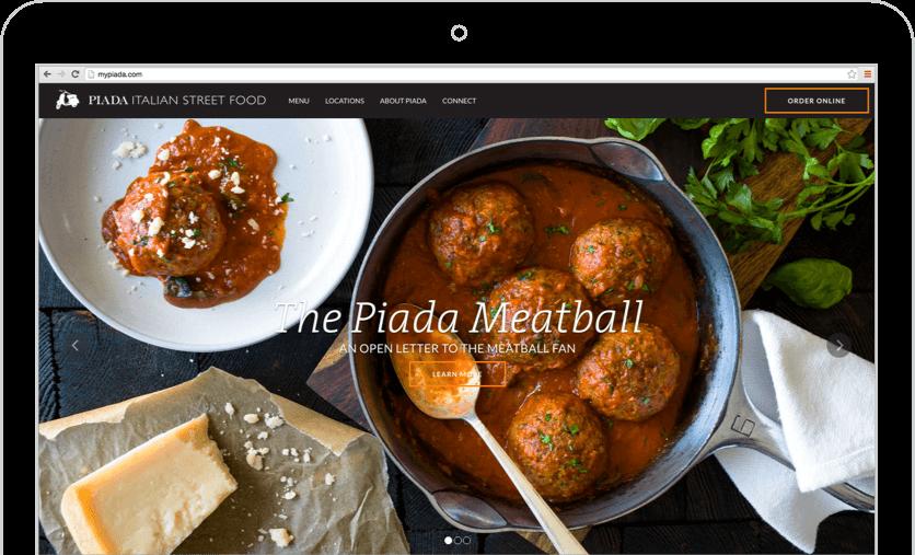 Case Studies: Piada Mobile Responsive Website on Laptop