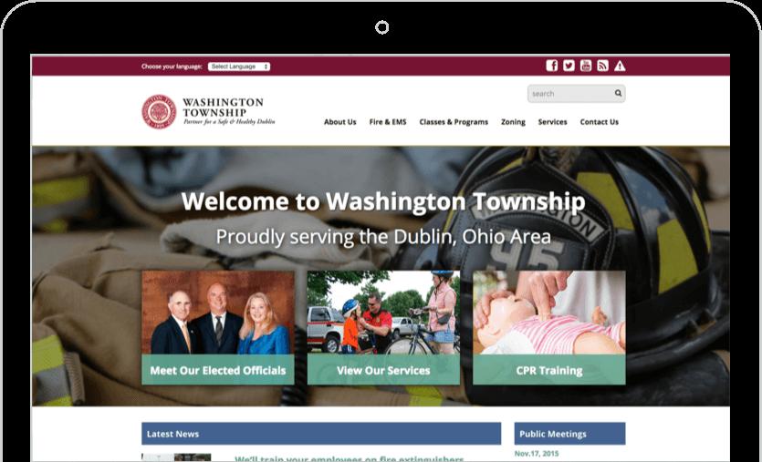 Washington Township website with creative design