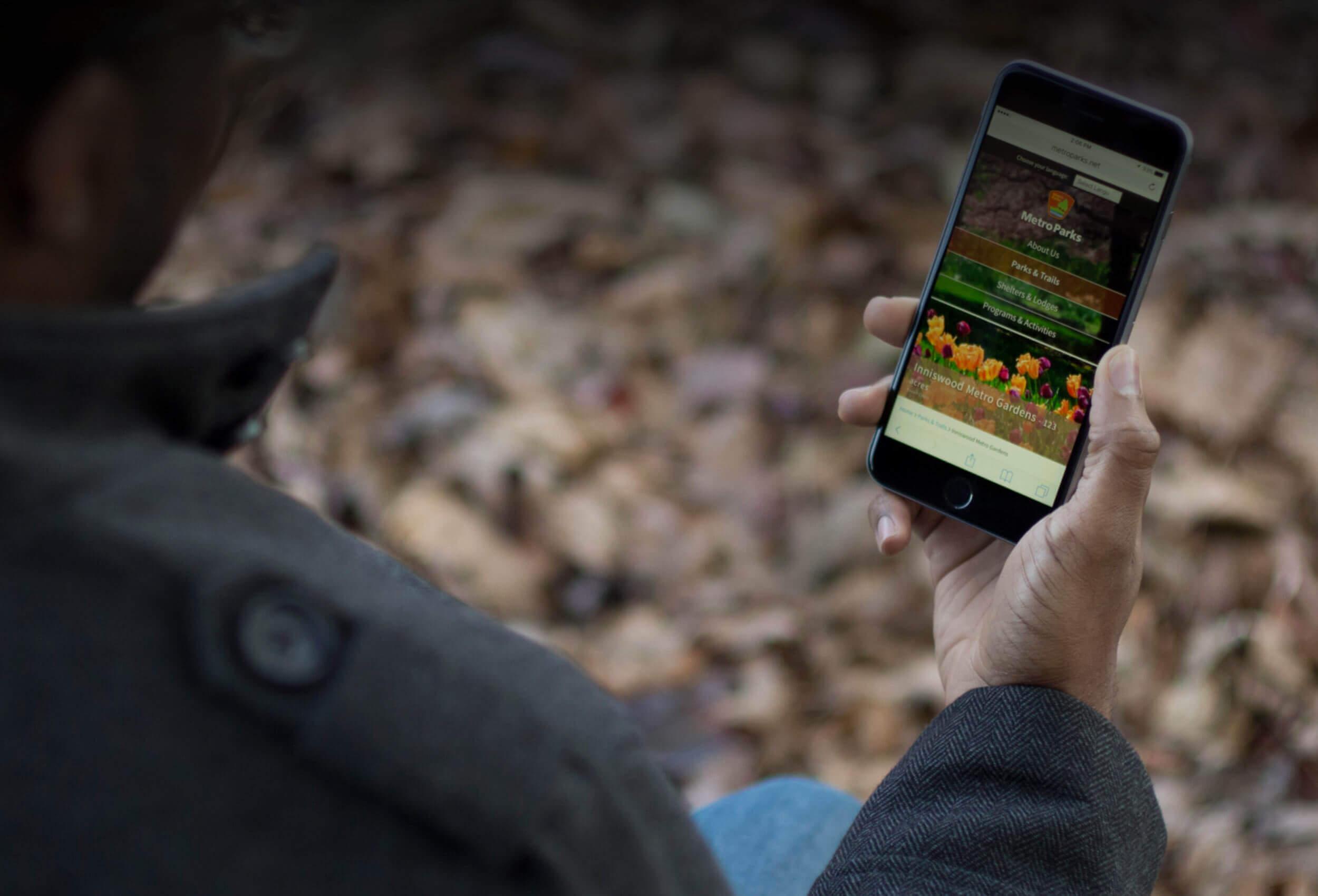 Metro Parks Website on iPhone 6s Plus