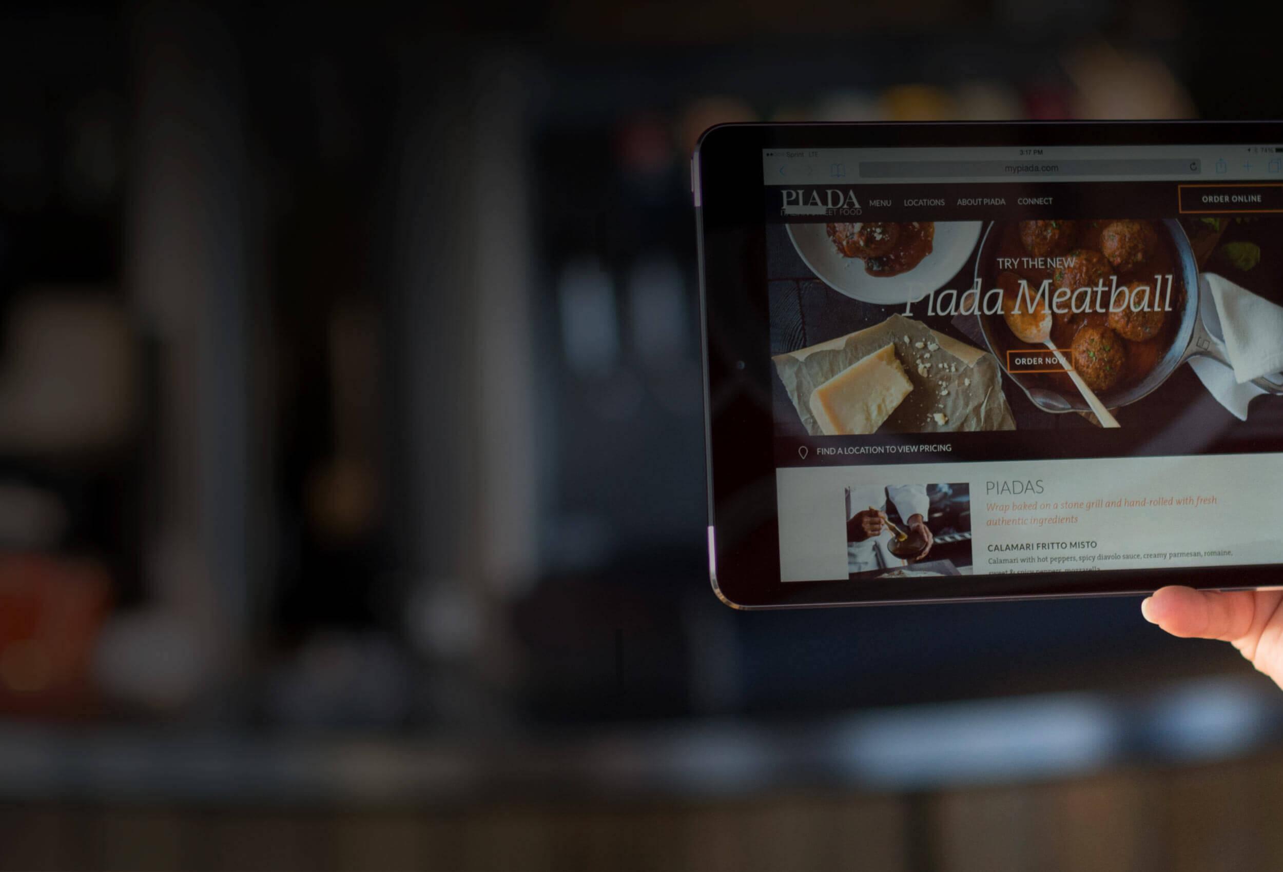 Piada Website on iPad Mini