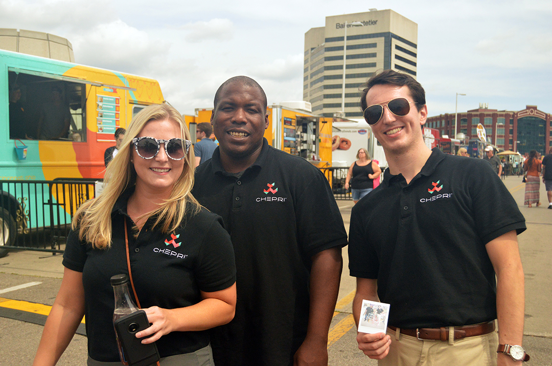 Three team members in black Chepri shirts at Columbus Food Truck Festival