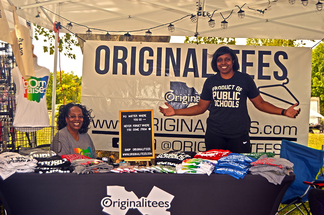 Two women manning the Originalitees booth, Columbus Food Truck Festival