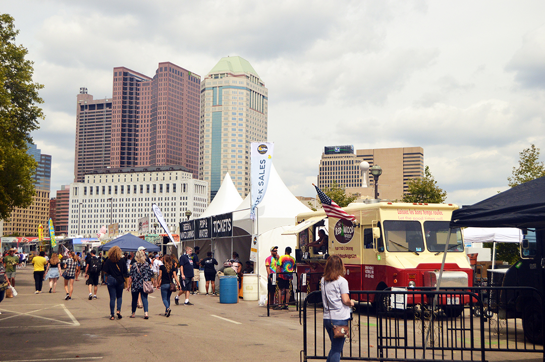 View with crowd and buildings behind, Columbus Food Truck Festival