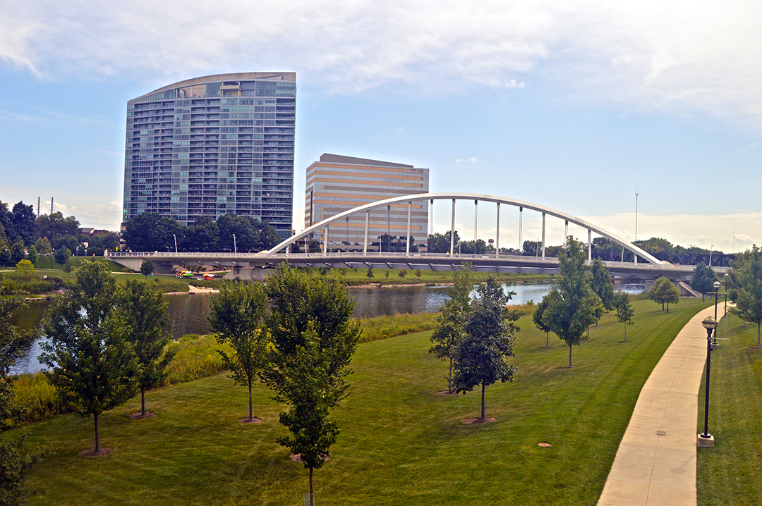 View of the Scioto Mile with river and Miranova, Columbus Food Truck Festival
