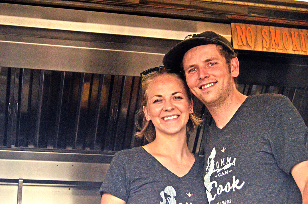 Man & woman from Momma Can Cook posing at Columbus Food Truck Festival