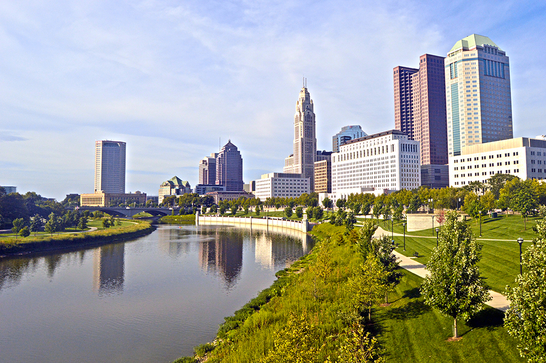 Columbus cityscape with river & trailways, Columbus Food Truck Festival