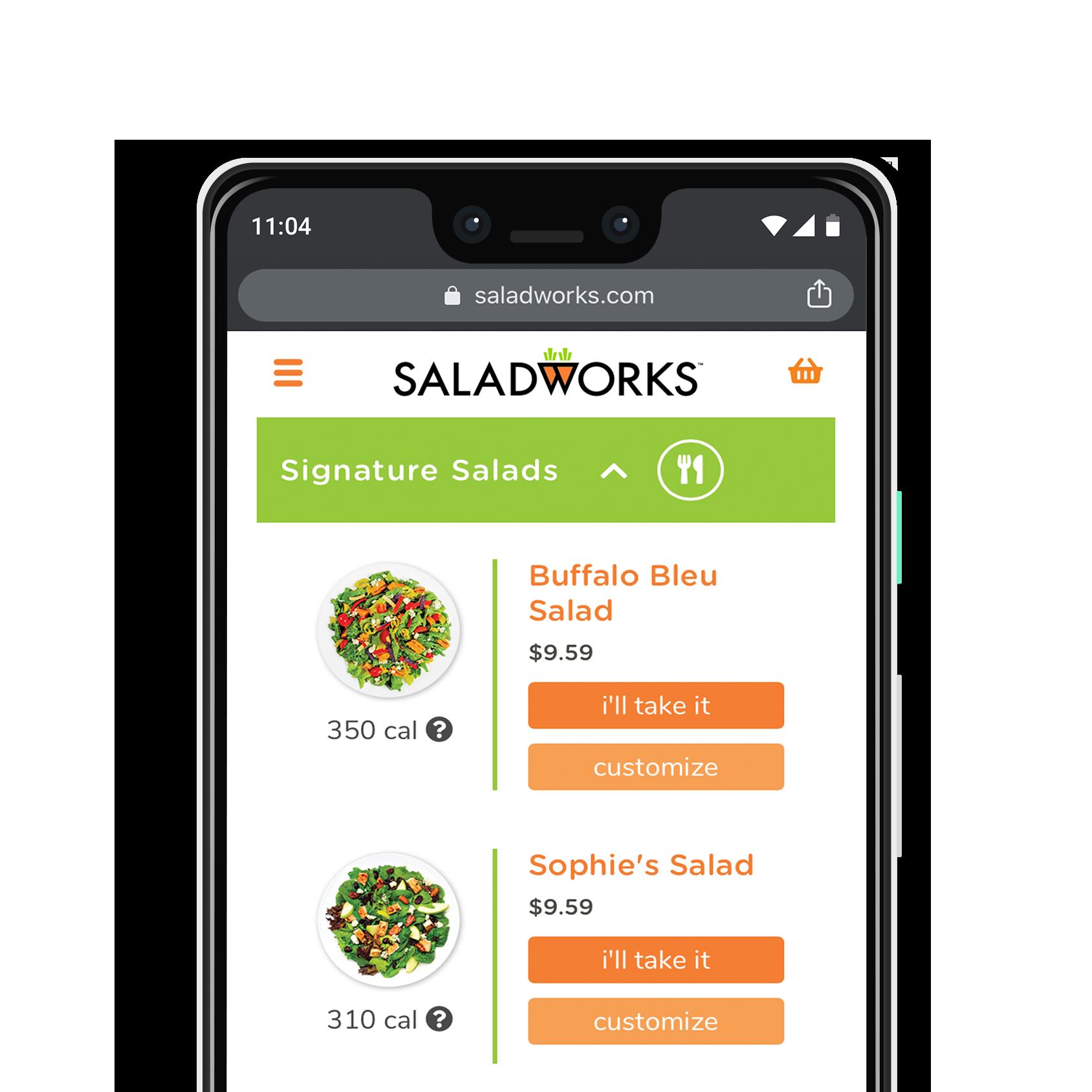 Saladworks menu on google pixel 3 XL