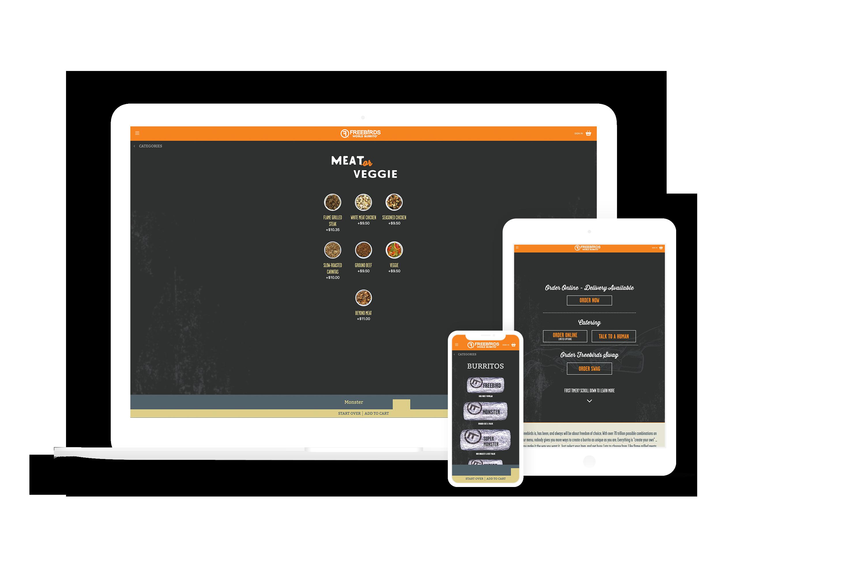 Freebirds website on iphone, ipad, and desktop