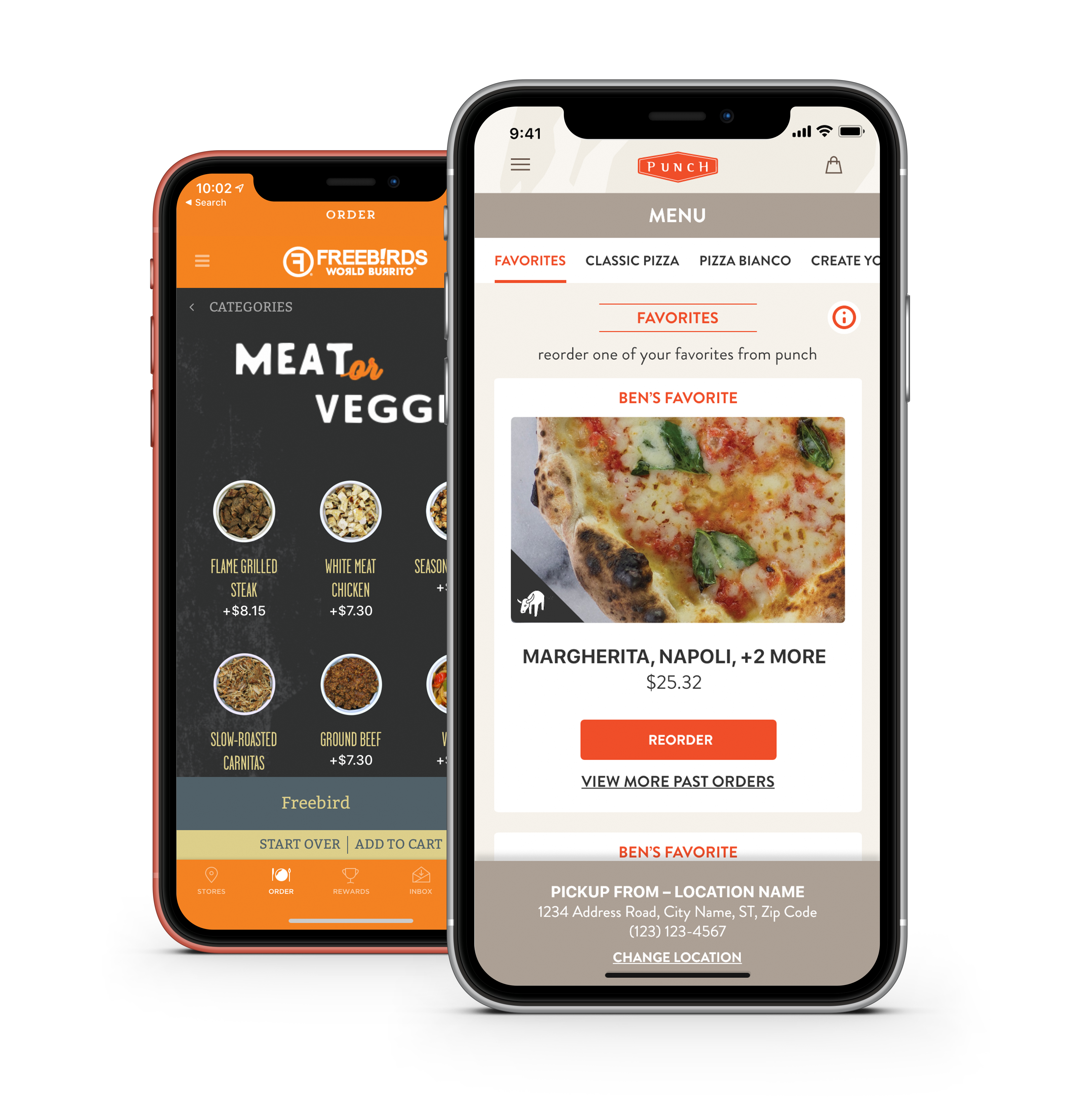 Freebirds and Punch Pizza online ordering on mobile