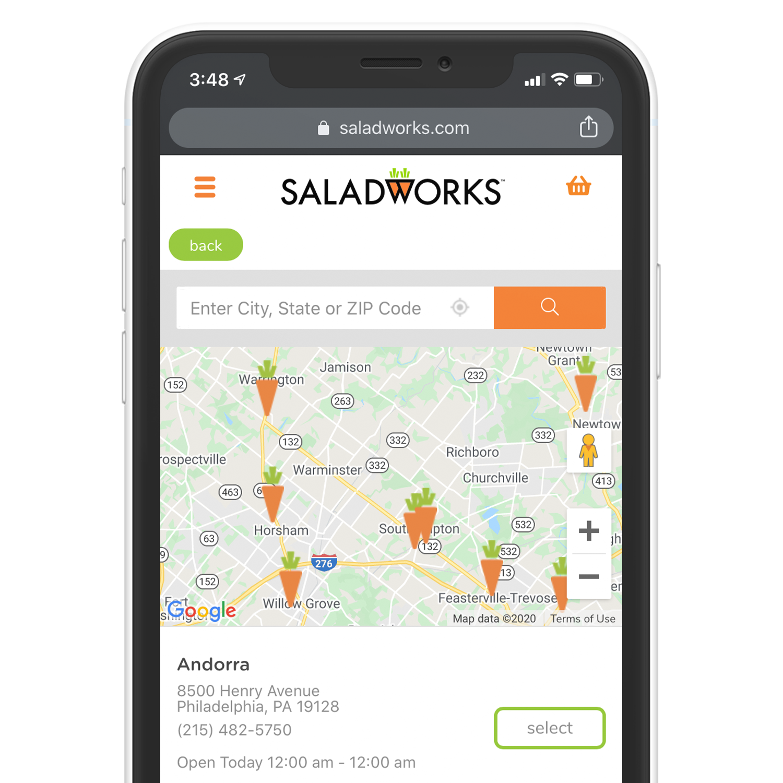saladworks location oage on iphone
