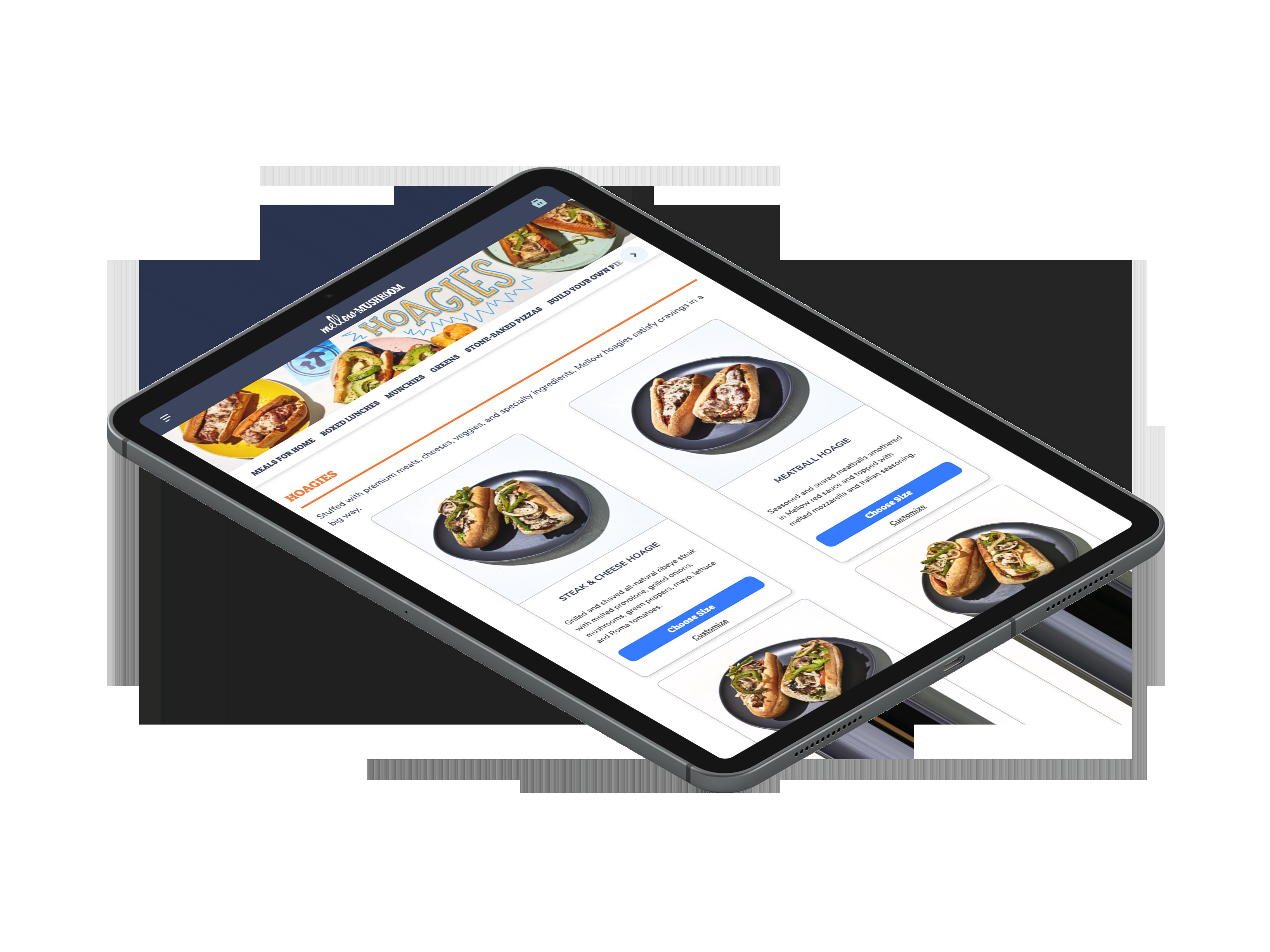 Mellow mushroom online ordering on tablet