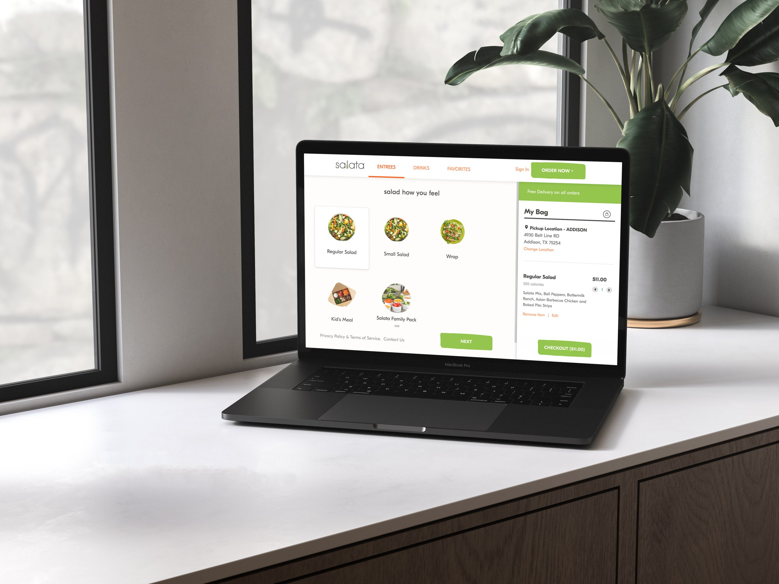 salata online ordering on laptop