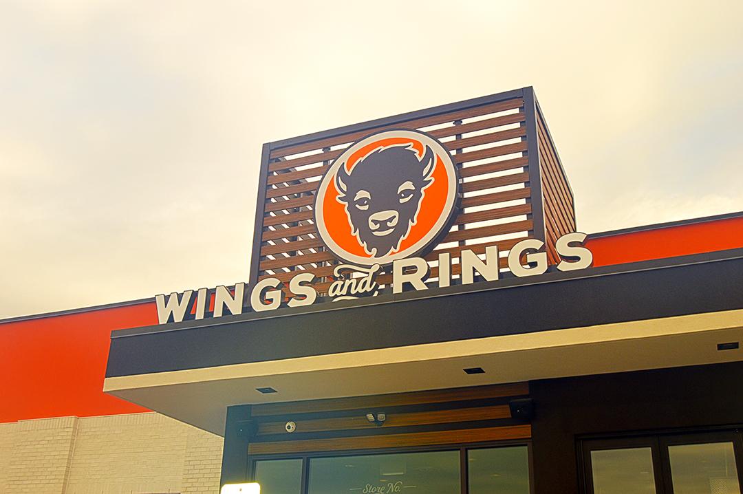 Closeup Buffalo Wings & Rings Milford sign & logo.
